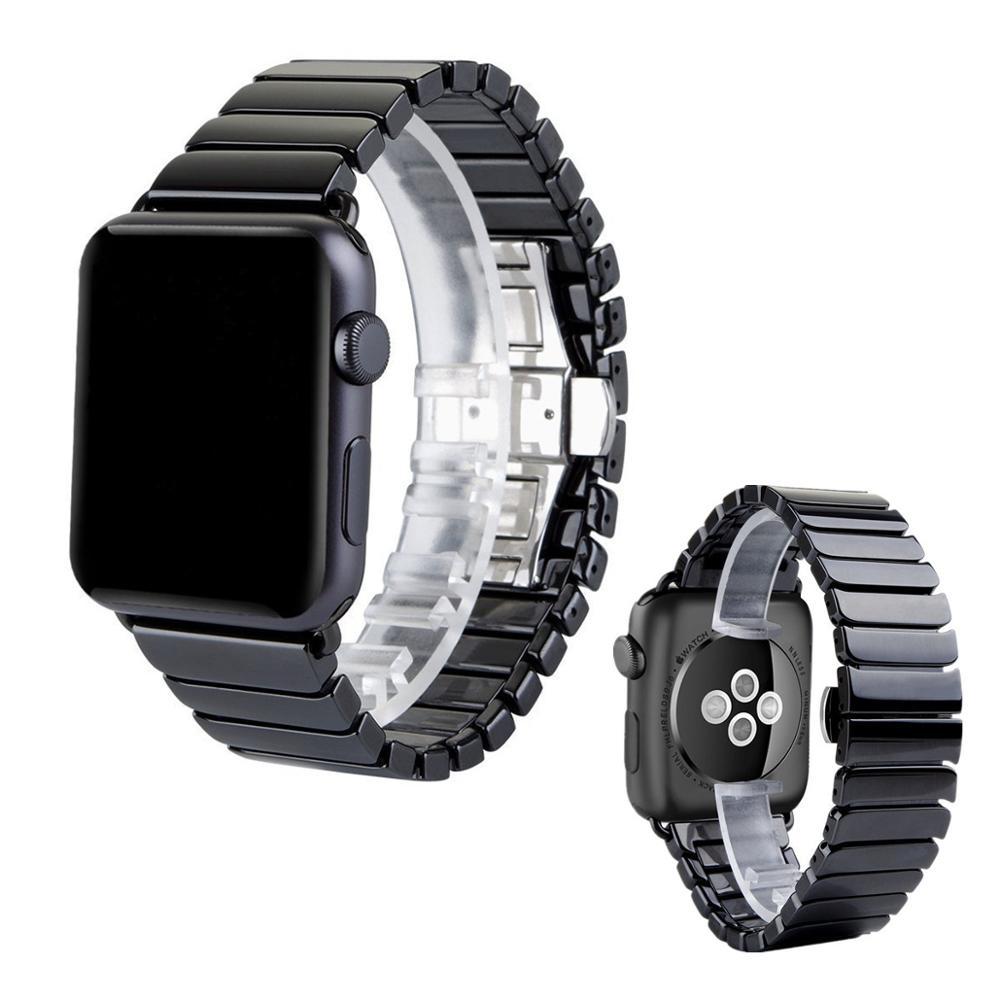 Image 2 - 세라믹 스트랩 애플 시계 밴드 44 mm 40mm iwatch 밴드 42mm 38mm 럭셔리 스테인레스 스틸 버클 팔찌 애플 시계 5 4 3 2 1워치 밴드시계 -