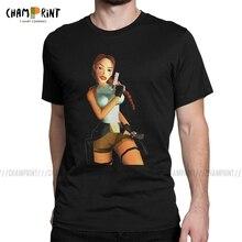 Vintage Tomb Raider large Croft Adventer juego camiseta para hombres Camisetas cuello redondo de 100% algodón camisetas de manga corta ropa única