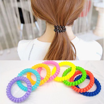 5pcs 5CM Women Telephone Spiral Hair Ties Colorfull Scrunchie Elastic Bands Girls Cord Tie Decorations Accessary