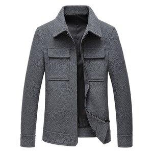 Image 3 - 2019 otoño nueva chaqueta de lana para hombres moda de negocios Color sólido dos bolsillos abrigo de herramientas ropa de marca masculina gris caqui negro