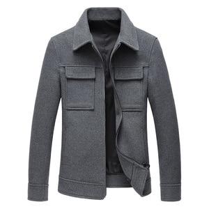 Image 3 - 2019 秋の新メンズウールジャケットビジネスファッションソリッドカラーのダブルポケットツーリングコート男性ブランド服グレーカーキ黒