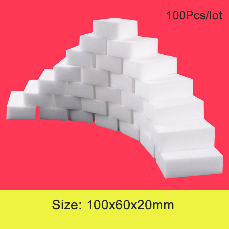 100 Pcs/lot Melamine Sponge Magic Sponge Eraser Melamine Sponges Cleanser Cleaning Sponge Bathroom Kitchen Accessories