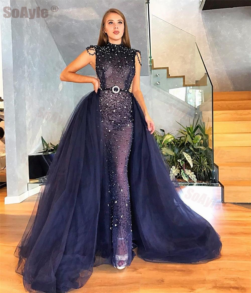 SoAyle  Evening Dress 2020 Detachable Tail Sequins Beading Formal Evening Dress Arabia Sparkling Crystal Belt Vestido De Festa