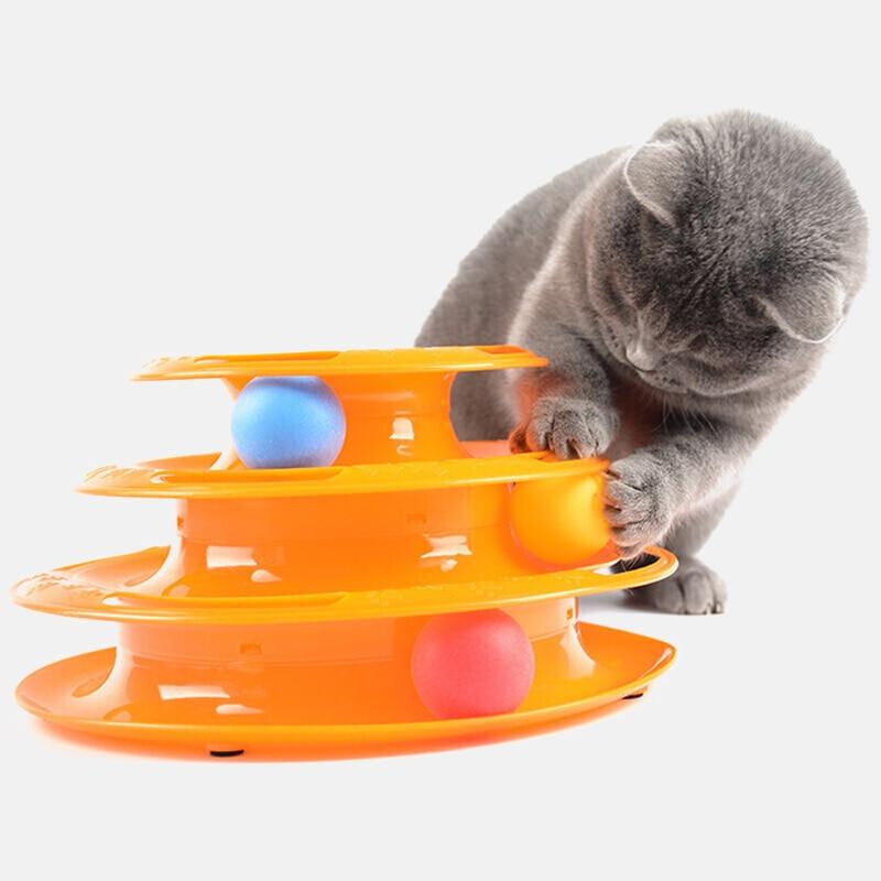 Three Levels pet cat toy Tower Tracks Disc cat Intelligence Amusement triple disc cat toys ball Training Amusement plate Kitten(China)