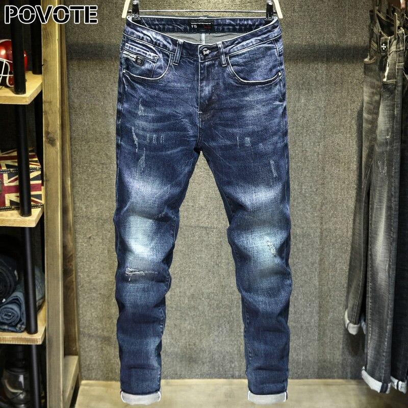 POVOTE 2020 New Blue Jeans Hole Patch High Grade Jeans Cotton Leggings Elastic Slim Pants Trend Design