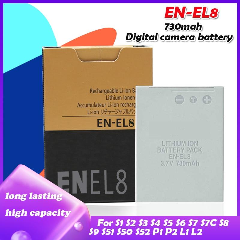 Batterie de caméra EN EL8 ENEL8 EN-EL8 V 3.7 mah, pour Nikon COOLPIX S1 S2 S3 S4 S5 S6 S7 S7C S8 S9 S51 S50 S52 P1 P2, 730