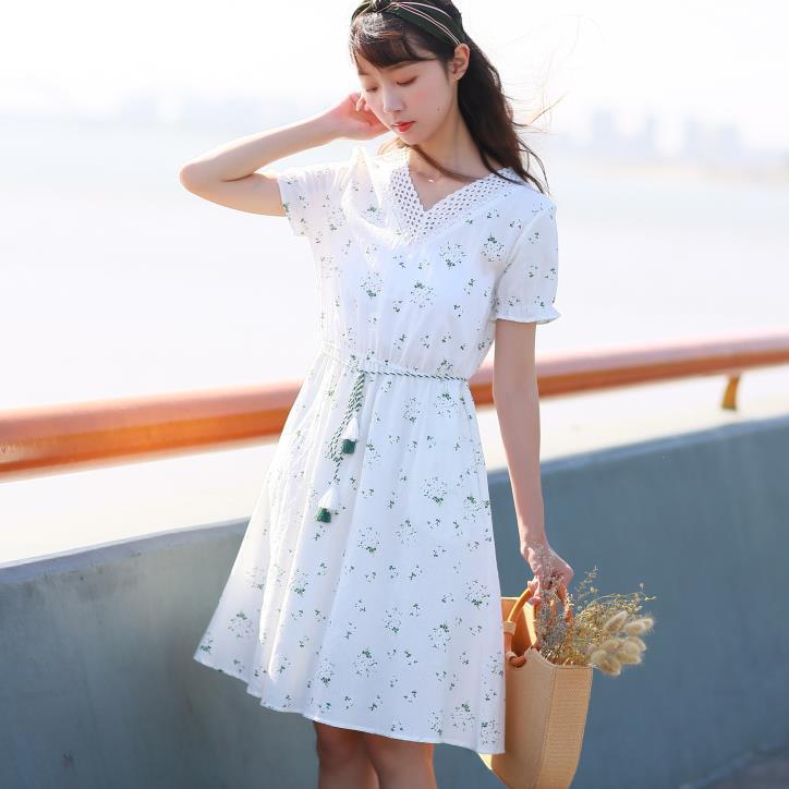 Summer Sundress School For Girls Women's Printed Loose Short-Sleeve Elastic Waist Hollow Out V Neck Cotton Linen Dress Student