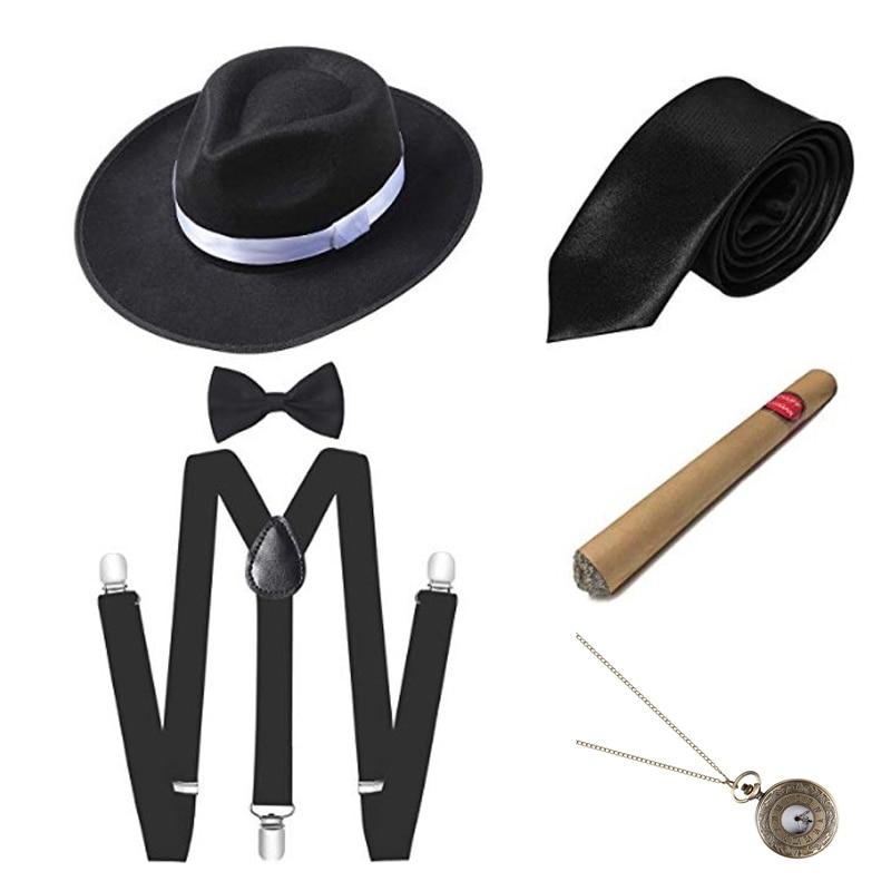 Adults Fancy Dress Costume Accessory Unisex Suspenders Gangster Sequin Braces