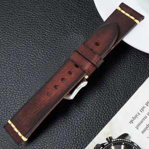 Image 3 - Maikes אמיתי רצועת השעון עור לגלקסי שעון רצועת 18mm 20mm 22mm 24mm להקת שעון Tissote טיימקס אומגה יד צמידים