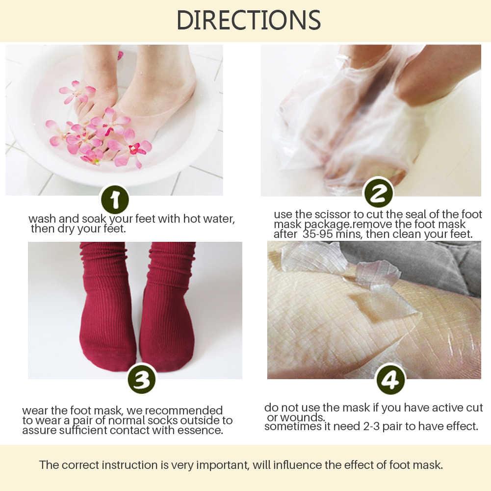 Máscara removedora de pele morta, meias de esfoliação para os pés, pedicure e peeling dos pés, 2 peças máscara de descamação dos pés tslm2