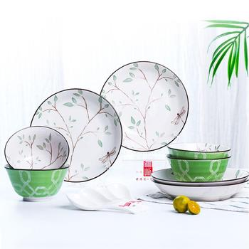 GloryStar 12pcs/set Ceramic Tableware Set Delicate Kitchen Dinnerware Floral Design Stylish Bowls Plates Spoons