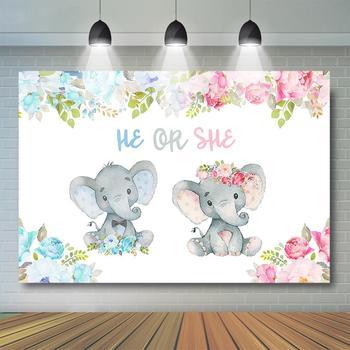 Elephant He Or She Gender Reveal Backdrop Blue or Pink Flower Baby Shower Banner Boy Girl Party Decor