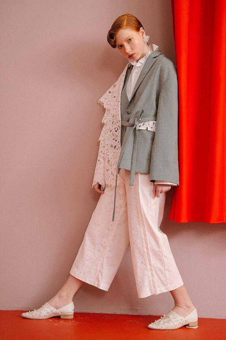 [EAM] Loose Fit Contrast Color Lace Big Size Jacket New Lapel Long Sleeve Women Coat Fashion Tide Spring Autumn 2020 1D319 4