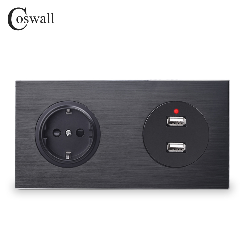 Coswall Luxurious Aluminum Metal Panel Black EU Standard Wall Socket With Dual USB Charging Port 2.4A Output 172*86mm R12 Series