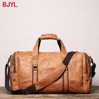 Men's Leather Handbag Women's Frosted Leather Shoulder Crossbody Bags Large Capacity Luggage Bags genuine leather travel bag men