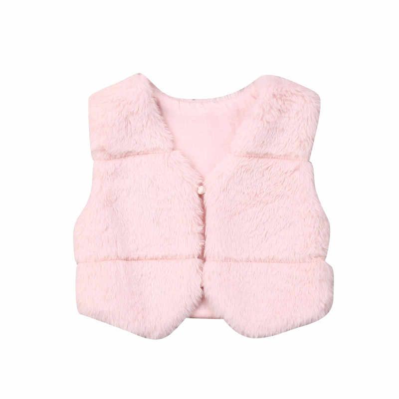 Inverno Meninas Crianças da Pele Do Falso Colete Colete Bebê Menina Rosa Quente Brasão Outwear Jacket Outfit