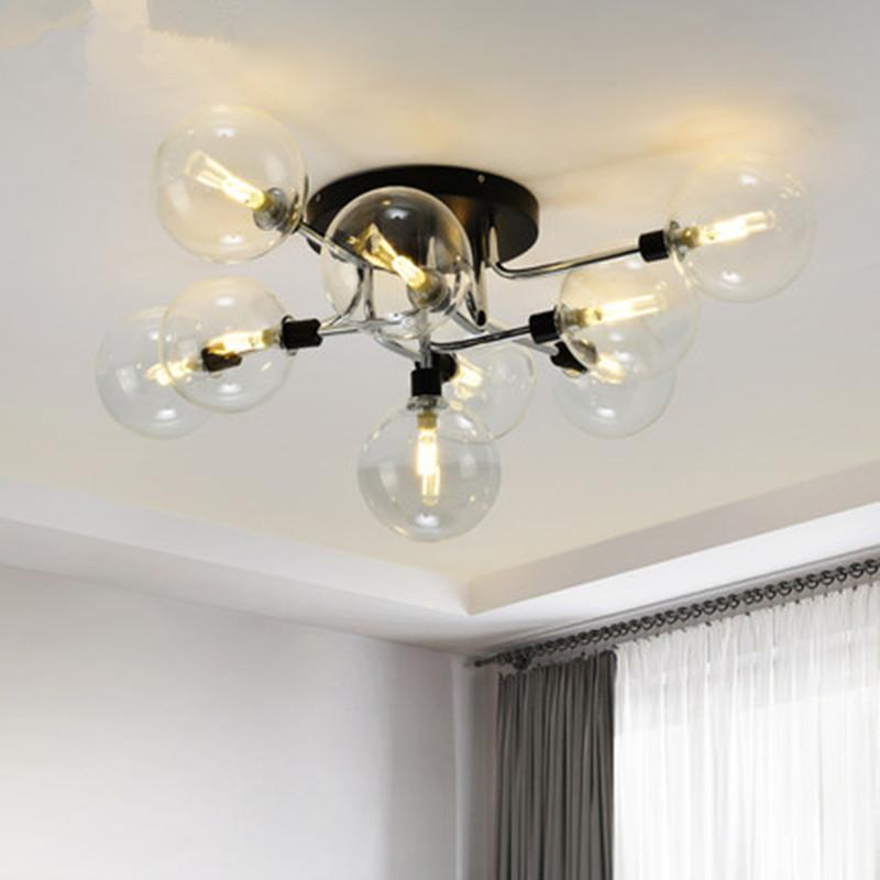 LED Ceiling Lamp Modern Glass Ball Ceiling Light for Living Room Kitchen Bedroom Home Lighting Lustre Black Chrome Copper
