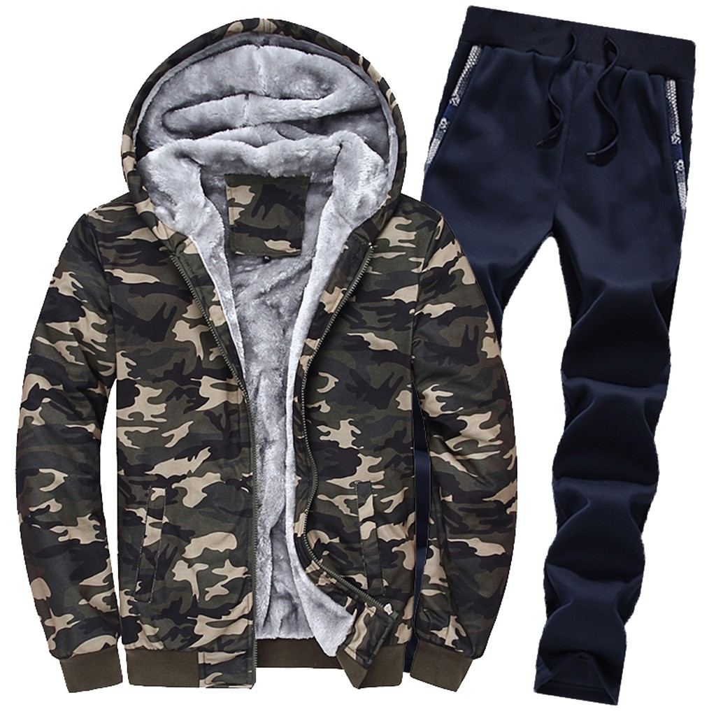 Mens Clothing  NEW Mens Hoodie Winter Camouflag Warm Fleece Zipper Outwear Coat Top Pants Sets спортивный костюм мужской