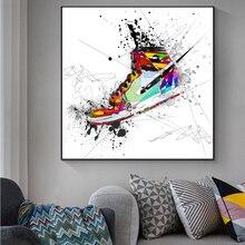 Toile de baskets aquarelle, peintures sur le mur, affiches d'art et imprimés, chaussures de Sport à la mode, photos pour décor de chambre de garçon