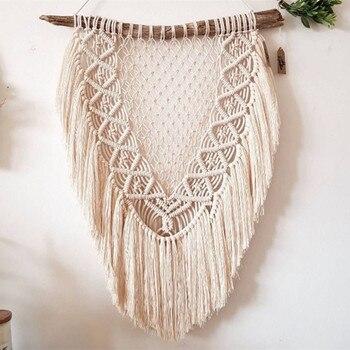 Nordic wystrój w stylu boho czysta ręka tkana gobelin ścienny Tassel koronkowa makrama ścienna wisząca główna sypialnia miękka dekoracja Mandala
