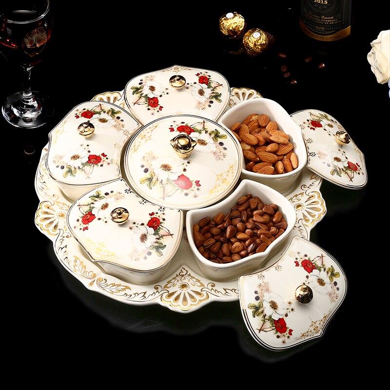 Assiette en céramique de fruits secs de luxe européen 6-grille avec couvercle bibelot plat Snack plateau ménage japonais bonbons collations assiettes de graines