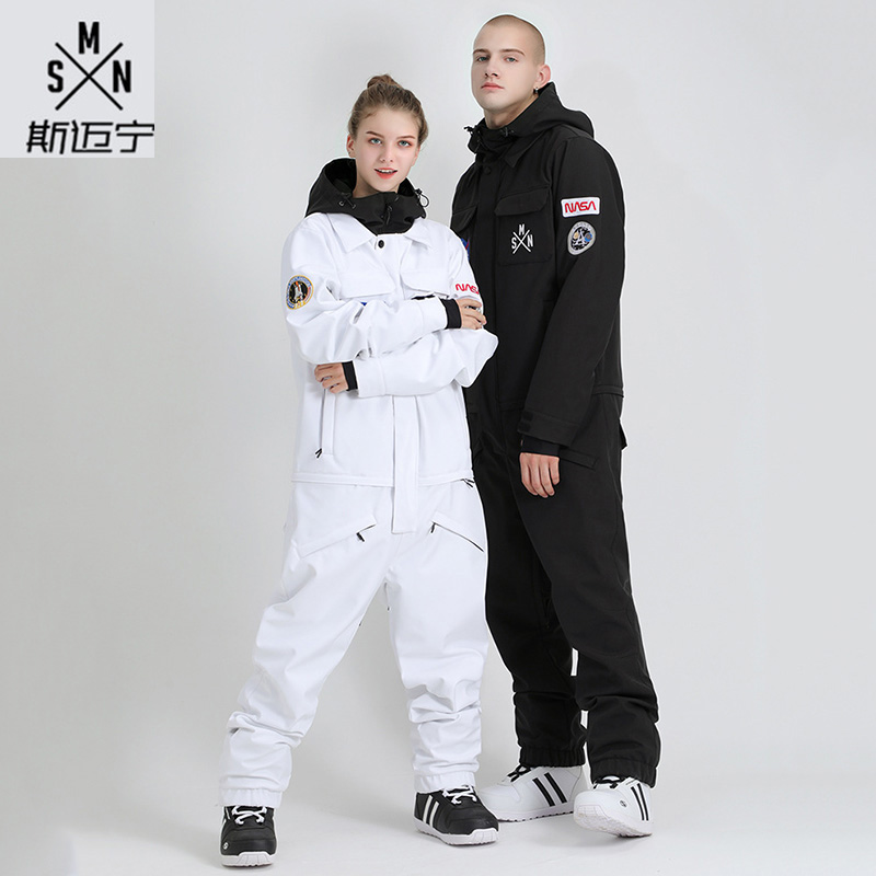 Smyring Winter Unisex One-piece Ski Suit Snowboard Jacket Winter Waterproof Warm Ski Jacket Vest Ski Jumpsuit Homme