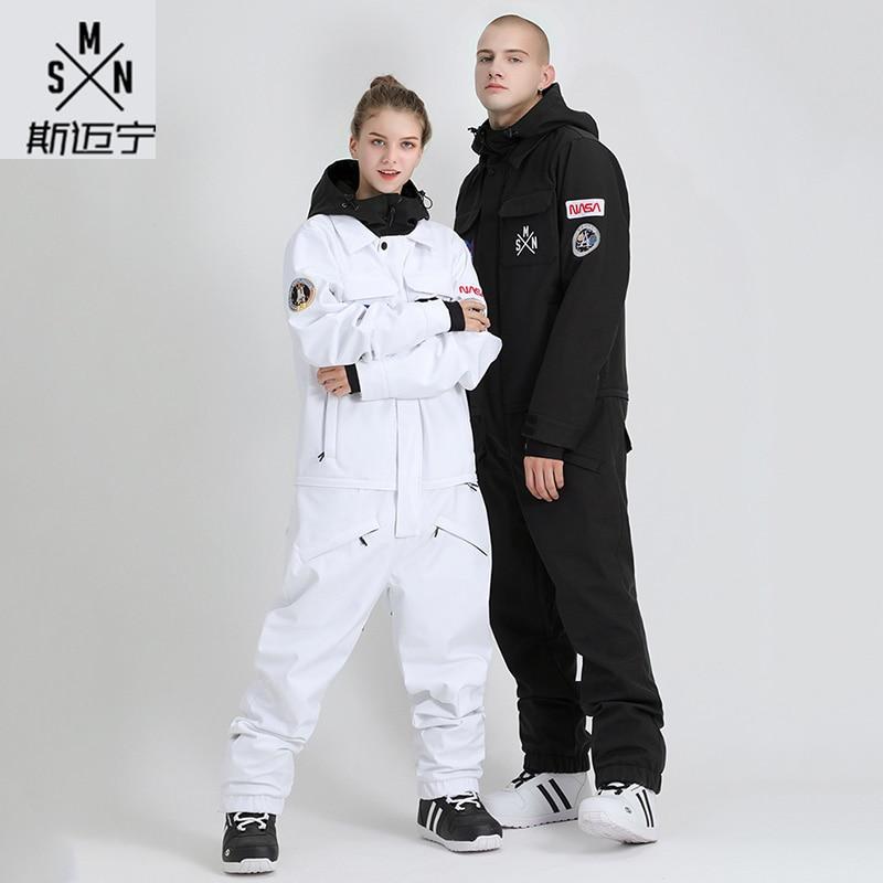 Smyring Winter Unisex One-piece Ski Suit Snowboard Jacket Winter Waterproof Warm Ski Jacket Vest Ski Jumpsuit Homme
