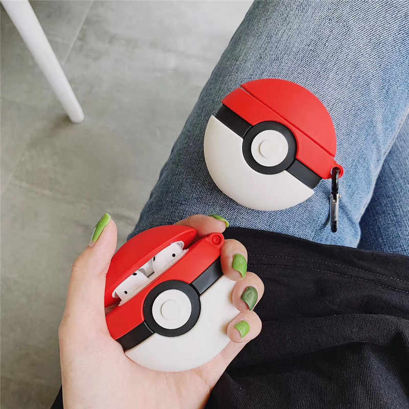 Air pods 2 Cartoon Anime Cute Funny Poke Ball earphone Cover For Apple Wireless Bluetooth Headset Airpods Silicone Cases Funda