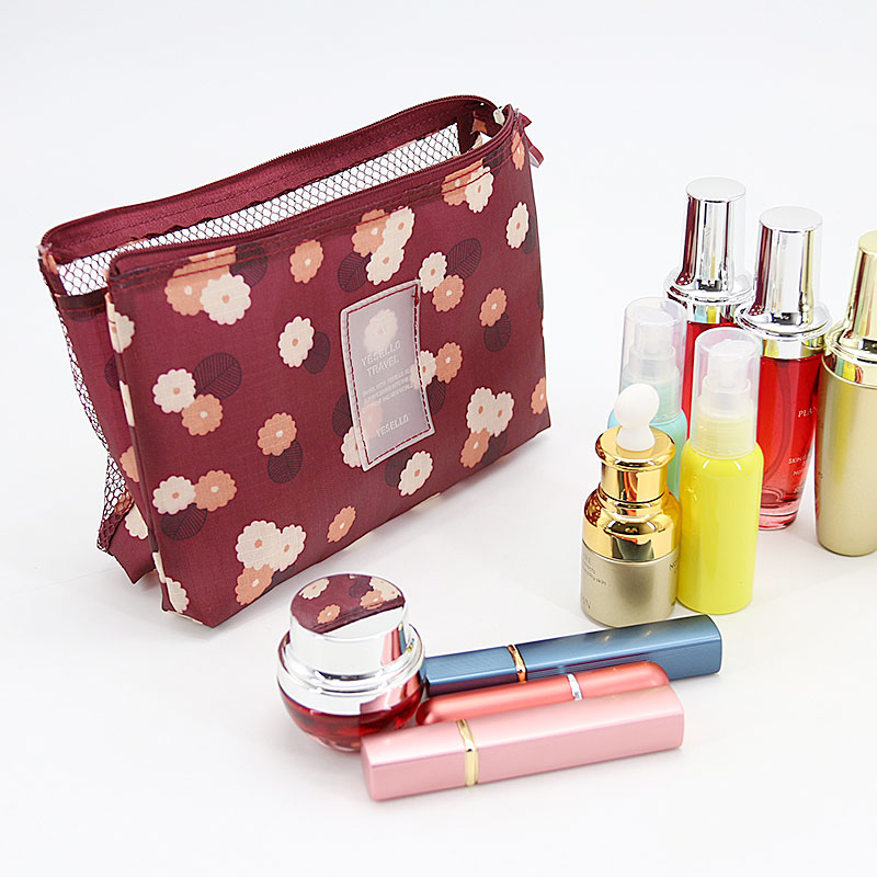 Women Travel Cosmetic Bags Portable Multifunction Ladies Storage Mesh Toiletry Bag Organizer Purse Make Up Pouch Clutch Bag