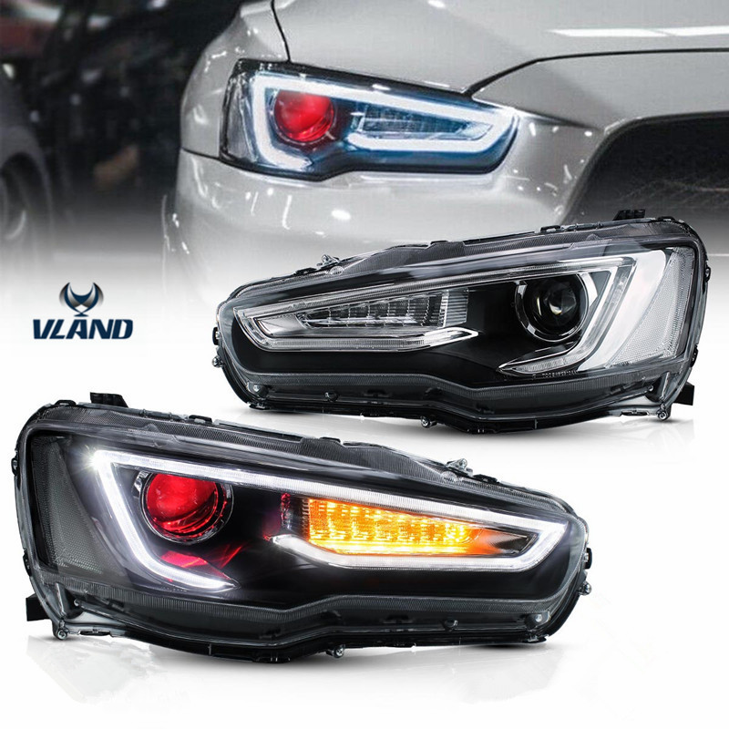VLAND Factory Accessories For Car LED Lights For Lancer LED Headlight 2008-UP With LED DRL&Moving Turn Signal Head Lamp Assembly