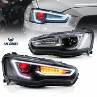VLAND Factory Accessories For Car LED Lights For Lancer LED Headlight 2008 UP with LED DRL&Moving turn signal head lamp assembly