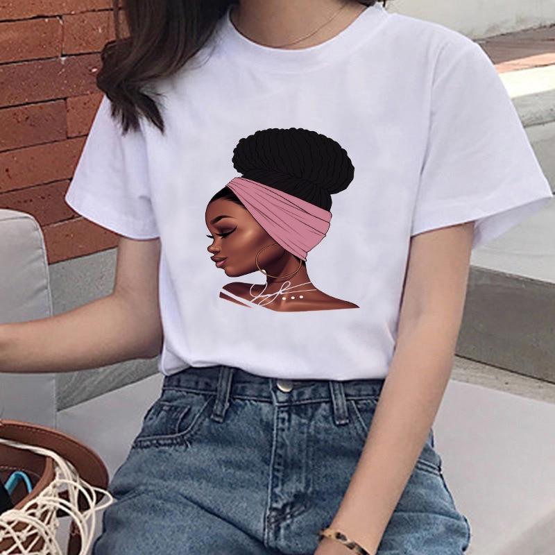 New Summer Harajuku Ullzang T-shirt Women Funny Cartoon Melanin Black Girl T-shirt 90s Fashion Kawaii Top Tee Female Plus Size