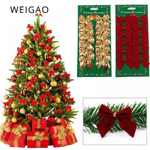 WEIGAO 12pcs Pretty Christmas Bow Tree Decoration Ribbon bowknot Decorations for Home New Year Navidad Kerst