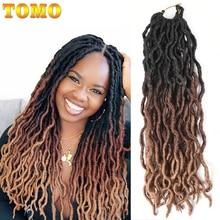 TOMO Ombre Faux Locs Curly вязанные крючком волосы для женщин 24 пряди блонд крючком косички богиня Locs 18 дюймов синтетические плетеные волосы
