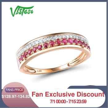 VISTOSO 14 K Rose Gold Ringe Für Dame Echtes Shiny Diamant Phantasie Rubin/Saphir/Smaragd Engagement Jahrestag Chic feine Schmuck