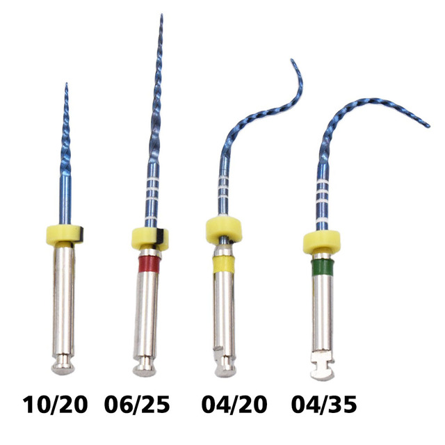 Dental instrument  04 06 taper heat activation blue files  engine use rotary files endondontic root canal NITI dentist tool