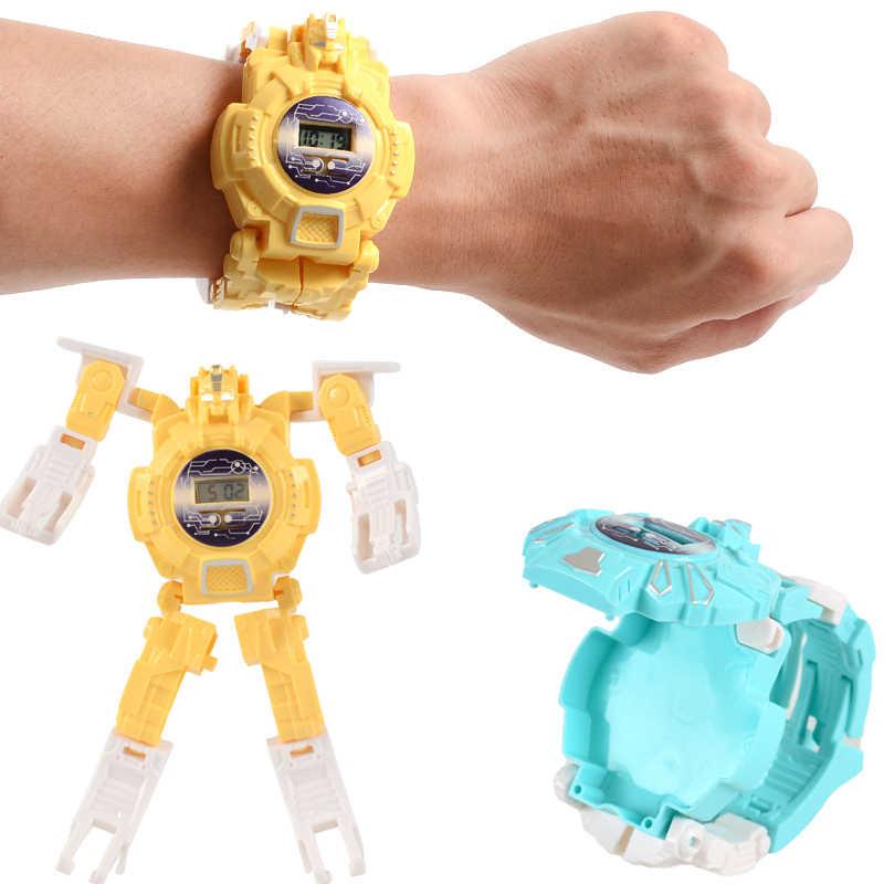 KDM Bambini Orologi Bambini Morphing robot Del Fumetto Delle Ragazze di Orologi Bambino Ragazzi LED Digital Orologi Da Polso Al Quarzo Relogio Masculino 2019
