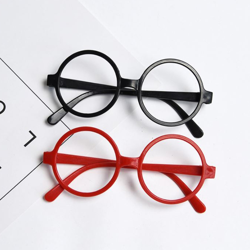 Childrens Kids Round Shape Black Or Red Frame Glasses Christmas Gift