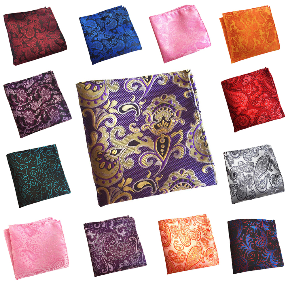 Mens Pocket Square Colorful Paisley Pattern Hanky Wedding Party Handkerchief