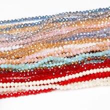 Multicolor 4mm Rondelle Austria fasetowane kryształowe szklane koraliki okrągłe koraliki dystansowe luzem koraliki na wyrób biżuterii bransoletka hurtownia