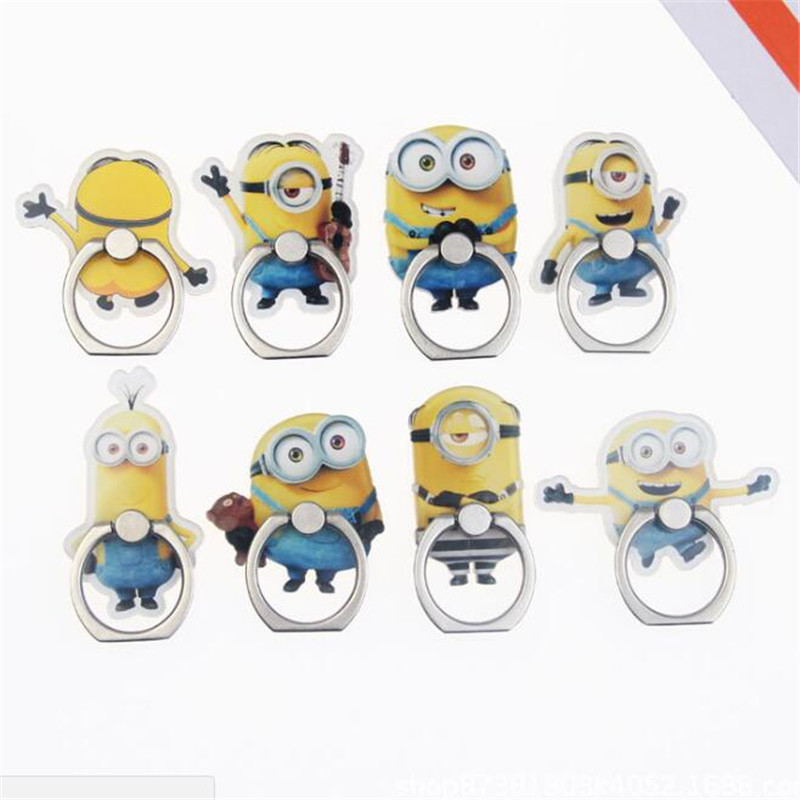 Acrylic Cartoon Minions Finger Ring Magician Phone Stand Holder Cartoon Mobile Phone Stand Phone Ring For Iphone All SmartPhone