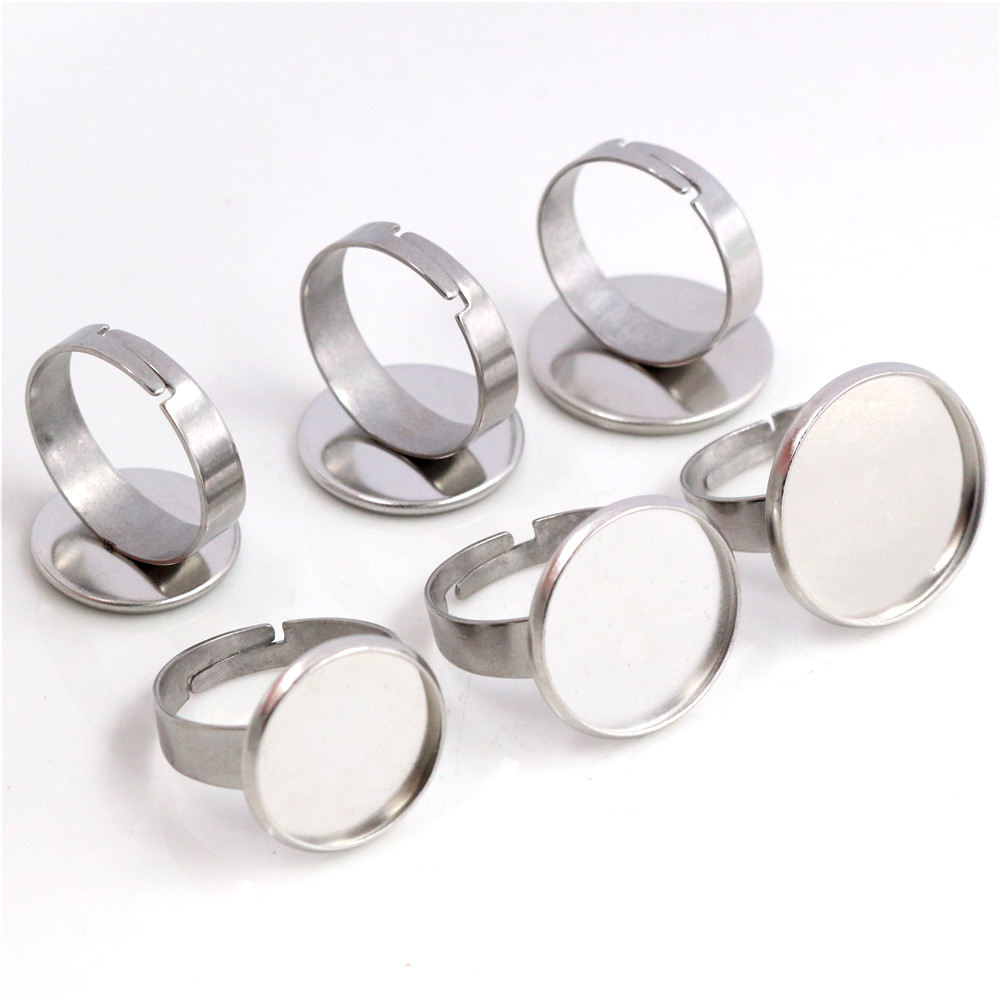 14mm-16mm-18mm 10pcs/Lot No Fade Stainless Steel Adjustable Ring Settings Blank/Base,Fit 14mm 16mm 18mm Glass Cabochons