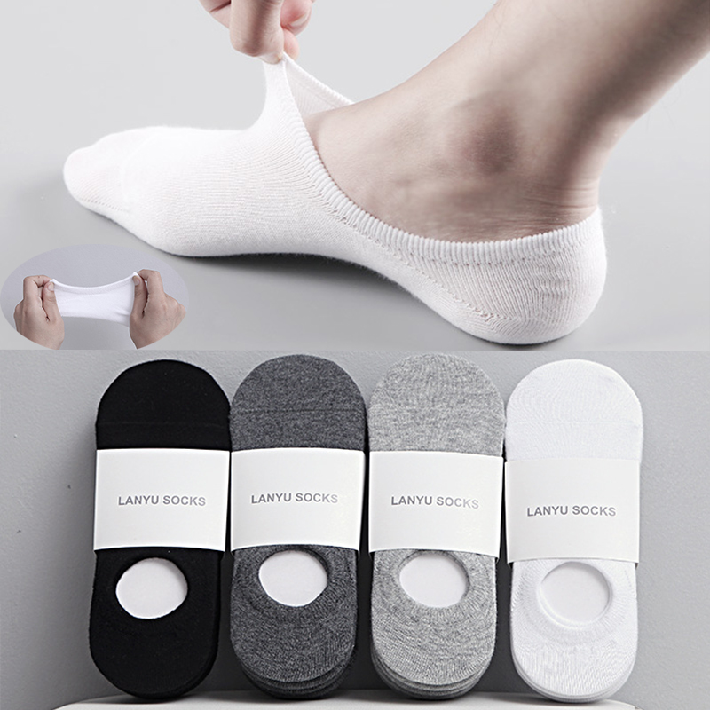 5Pair / Lot Fashion Happy Men Boat Socks Summer Autumn Non slip Silicone Invisible Cotton Socks Male Ankle Sock Slippers Meia