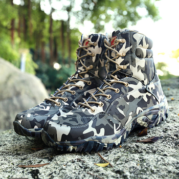Military Army Men Boots Winter Lace Up Waterproof Outdoor Shoes Breathable Canvas Camouflage Tactical Combat Desert Ankle Boots