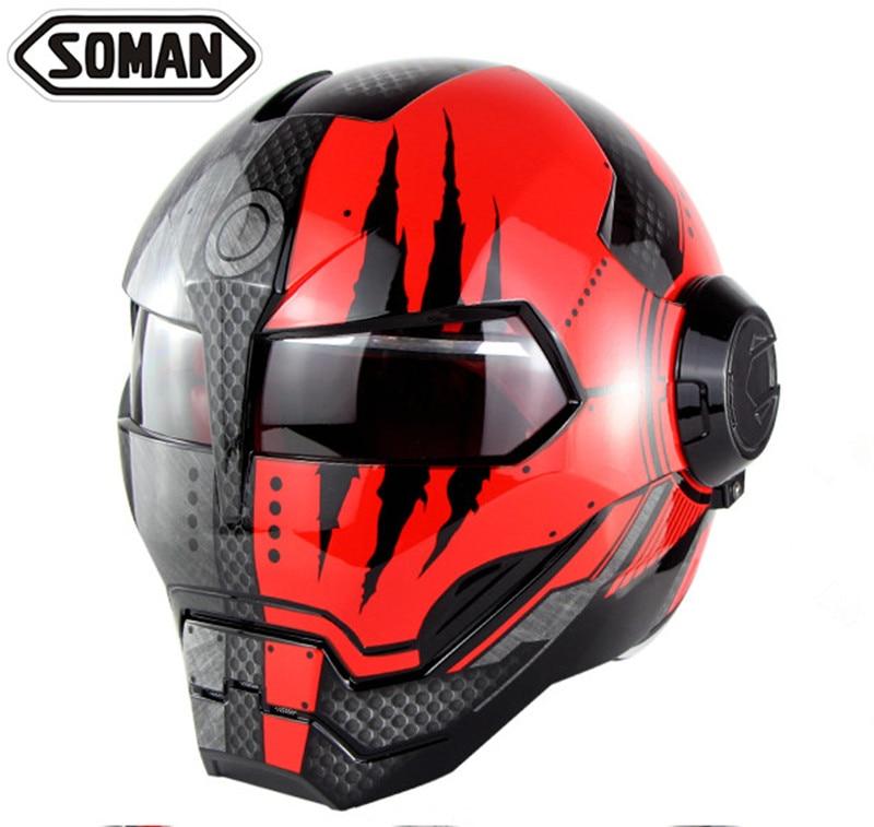 Iron Man Helmets Black Red War Machine Ironman Casque Robot Cosplay Full Face Motorcycle Helmet Flip Up Capacete Retro Motorbike