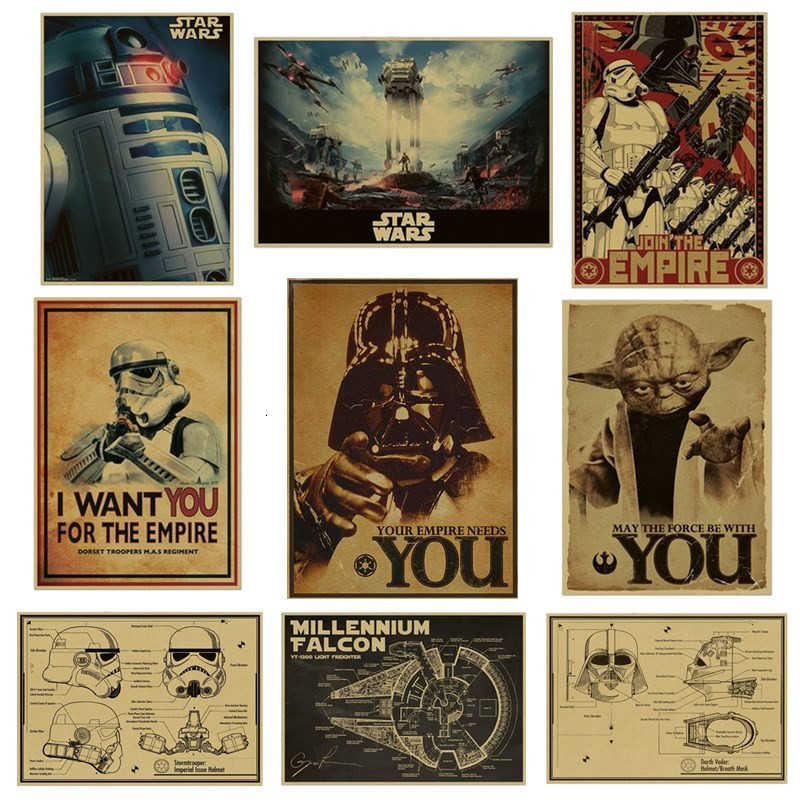 Cartaz do vintage star wars darth vader luke jedi cartazes decoracion pintura barra arte da parede retro papel kraft adesivos de parede
