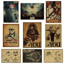 Cartel de película Vintage Star Wars Darth Vader y Luke Jedi carteles decoración pintura Bar arte de pared Retro Kraft pegatinas de papel para pared