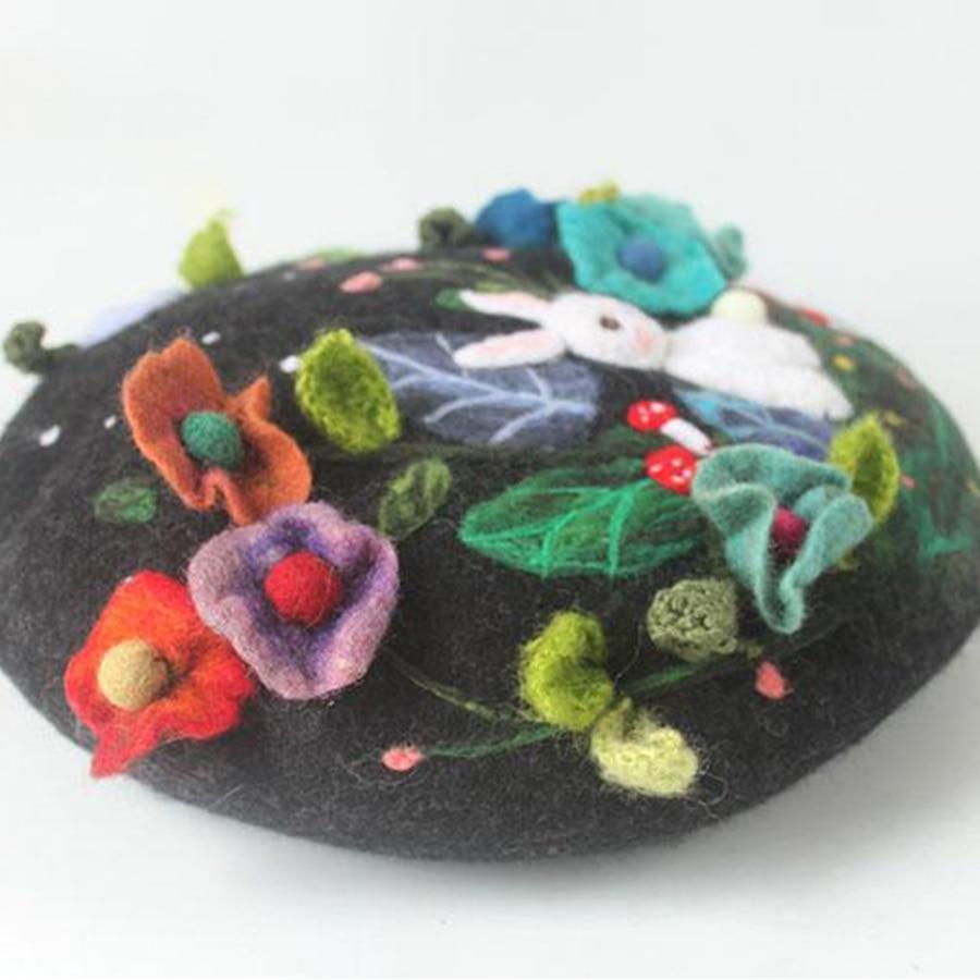 Mysterious Jungle Wool Beret Cap Ladies Hand Embroidered Korean Winter Warm Berets Hat Women Cute Rabbit Christmas New Year Hats - 2