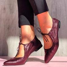 Nova moda feminina sapatos de salto baixo sapatos de couro feminino 2021 verão casual rendas-up apartamentos mais tamanho 43