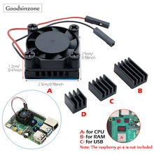 Raspberry Pi 4 Model B DIY CPU Cooling Fan with Aluminum Heatsink Base+RAM Heatsink Heat Sinks Set Kit for Raspberry Pi 4 Pi4